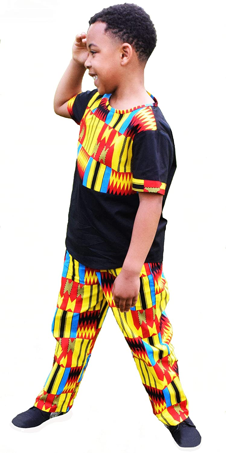 967a9e352ef5 Amazon.com: Shenbolen Boy African Print Kente Kids Ankara Suit African  Ghana Tribal Clothing: Clothing