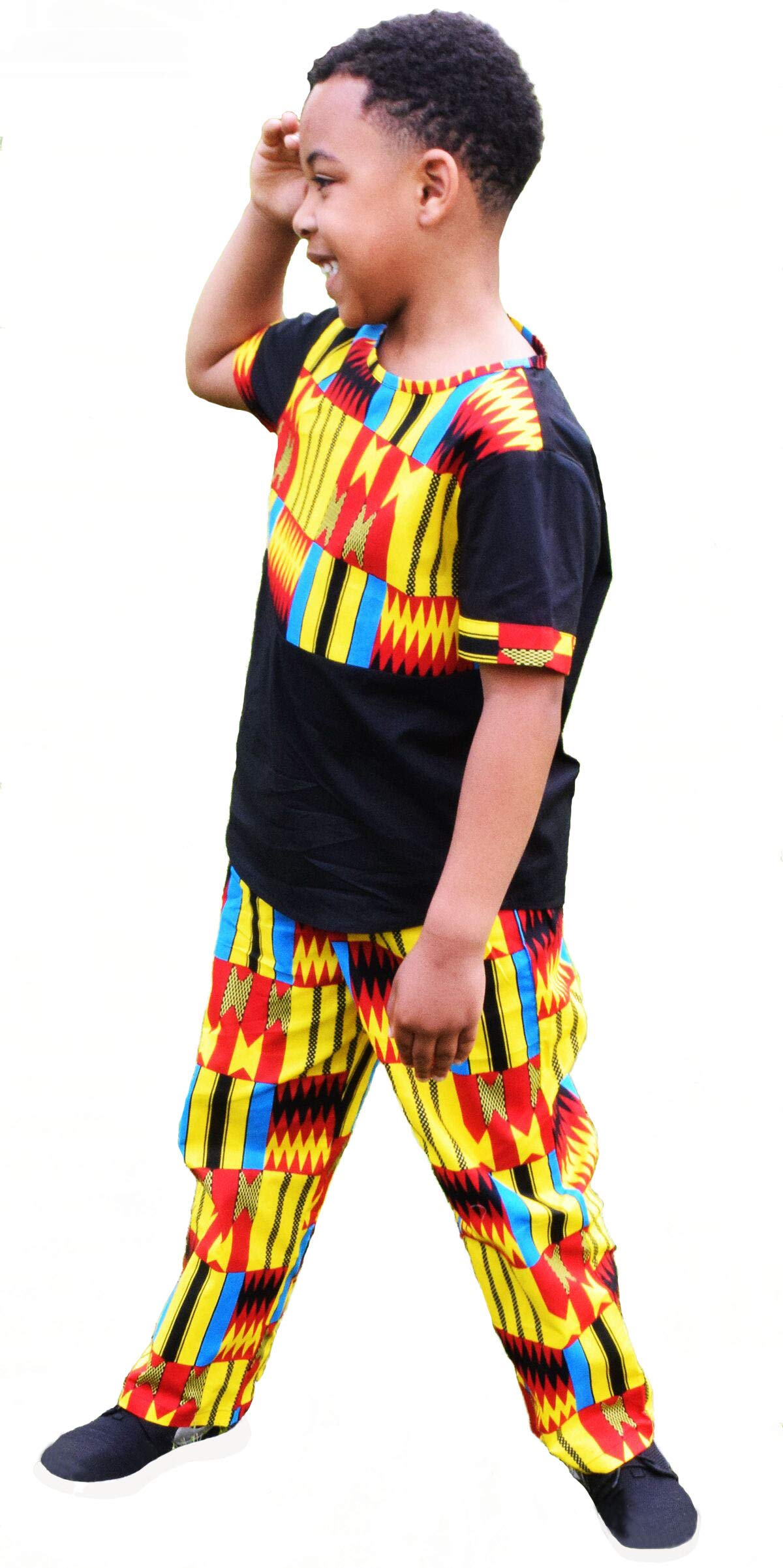Shenbolen Boy African Print Kente Kids Ankara Suit African Ghana Tribal Clothing(A,Medium)