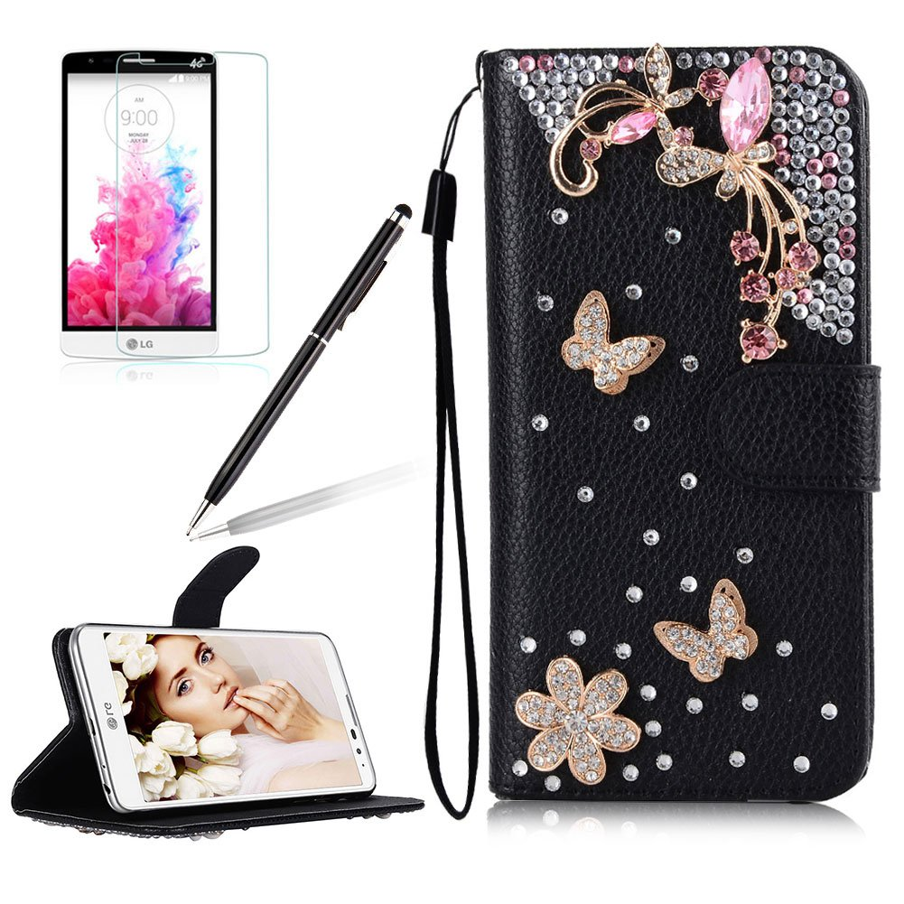 Girlyard for LG G6 [Wrist Strap] Black PU Leather Shiny Diamond Crystal Flip Wallet Case Folding Stand Protective Case Cover with Magnetic Clasp and Card Holder Butterfly White Flower