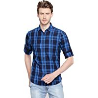 Dennis Lingo Men's Cotton Checkered Casual Shirt
