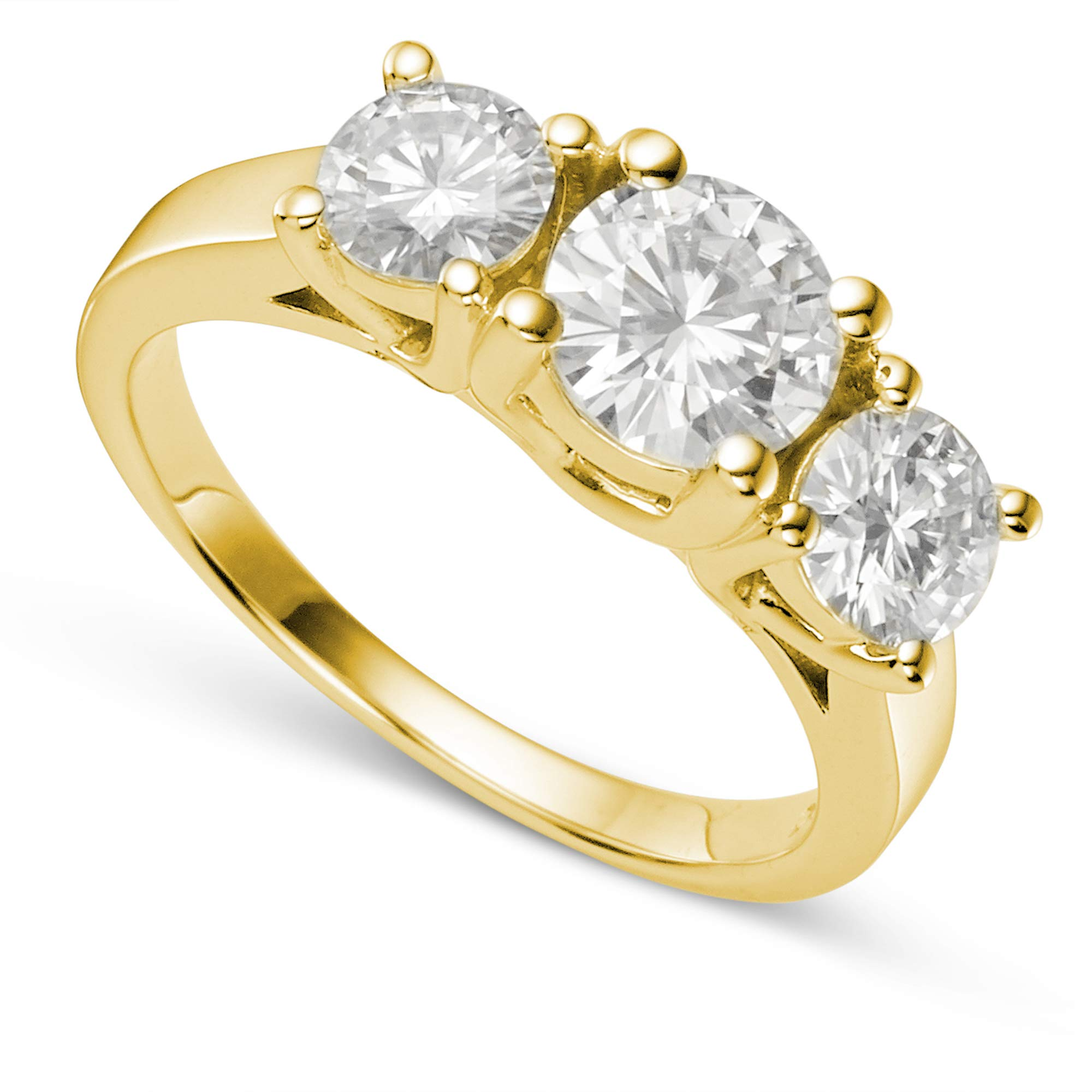 14K Yellow Gold Moissanite by Charles & Colvard Round Three Stone Ring-size 7, 2.00cttw DEW