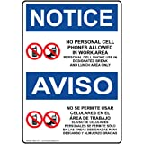 ComplianceSigns Plastic OSHA NOTICE sign 14 x 10 in. with Cell Phone Use message -