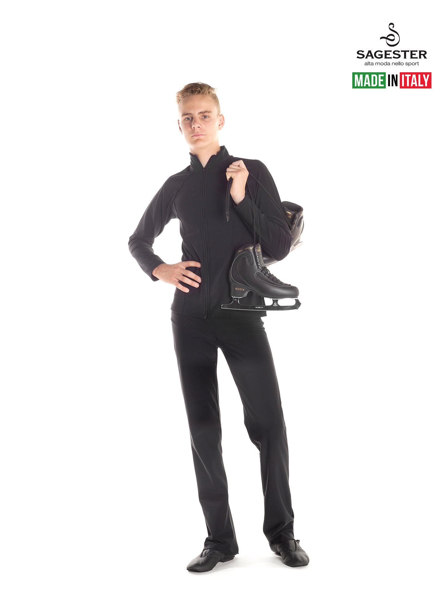 Sagester # 440 / Italy Hand-Made/Ice Skating Pants/for Men / 42, Black Therm