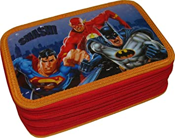 Caso 3 Escuela postal original - Batman, Superman y Flash - Liga de la Justicia de América - 3D - 45 piezas completas: Amazon.es: Juguetes y juegos