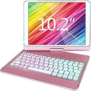 iPad Keyboard Case for iPad 8th Generation 10.2 Inch 2020, iPad 7th Gen 2019/iPad Air 3rd Gen/iPad Pro 10.5 Keyboard Case-10 Color Backlit Wireless Keyboard- 360 Rotatable- iPad 8th Gen Keyboard Case