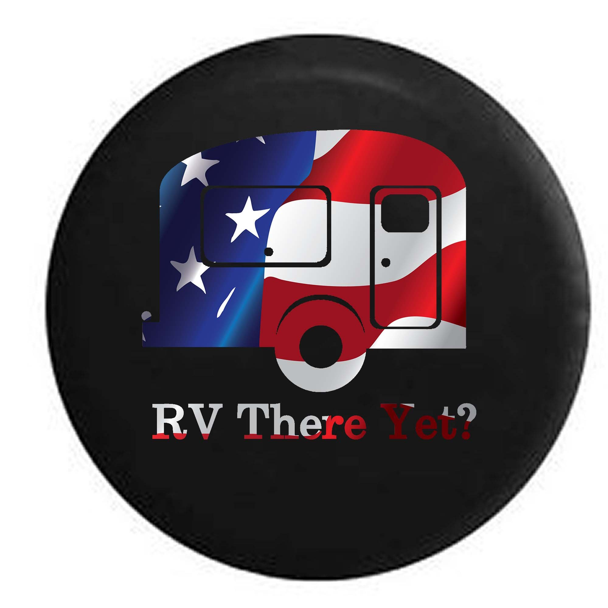 Pike Flag - RV There Yet? TravelCamper Trailer RV Spare Tire Cover OEM Vinyl Black 32 in by Pike Outdoors