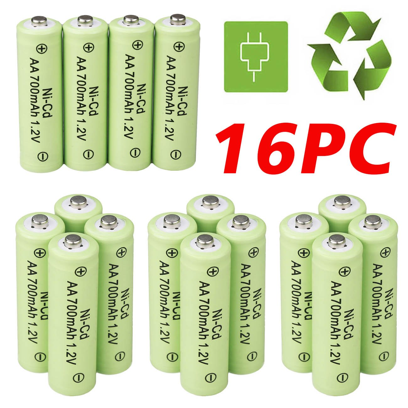 ShineTool 16 Pack AA Batteries, 700mAh AA 1.2V Battery Rechargeable for Solar Light LED Flashlight Toy Car