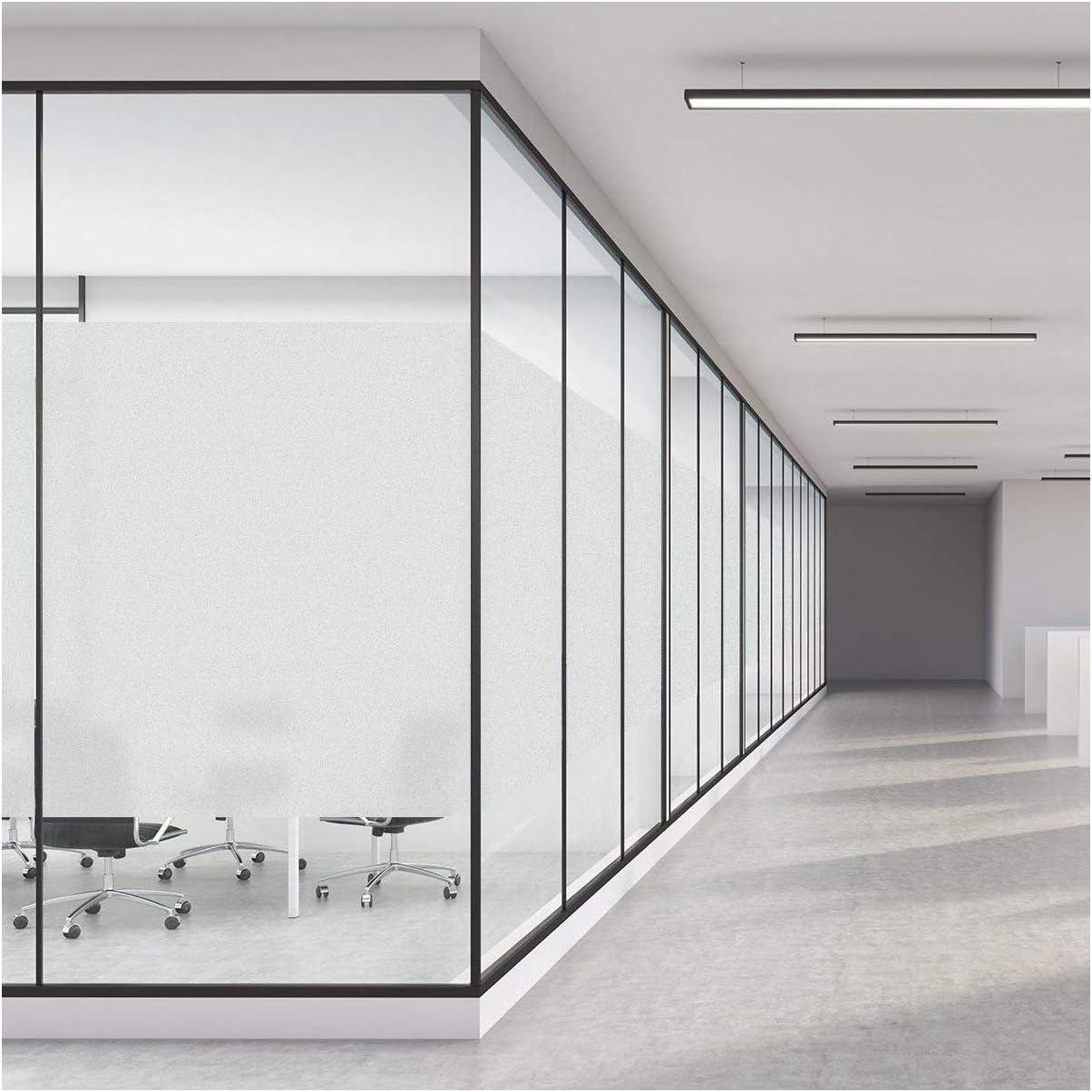 Ambiance Sticker Window Privacy Film No adhesivo, Películas de vidrio de ventana esmerilada para la oficina del baño en el hogar, Etiqueta de ventana opaca extraíble, Blanco mate 45 x 200CM: Amazon.es: