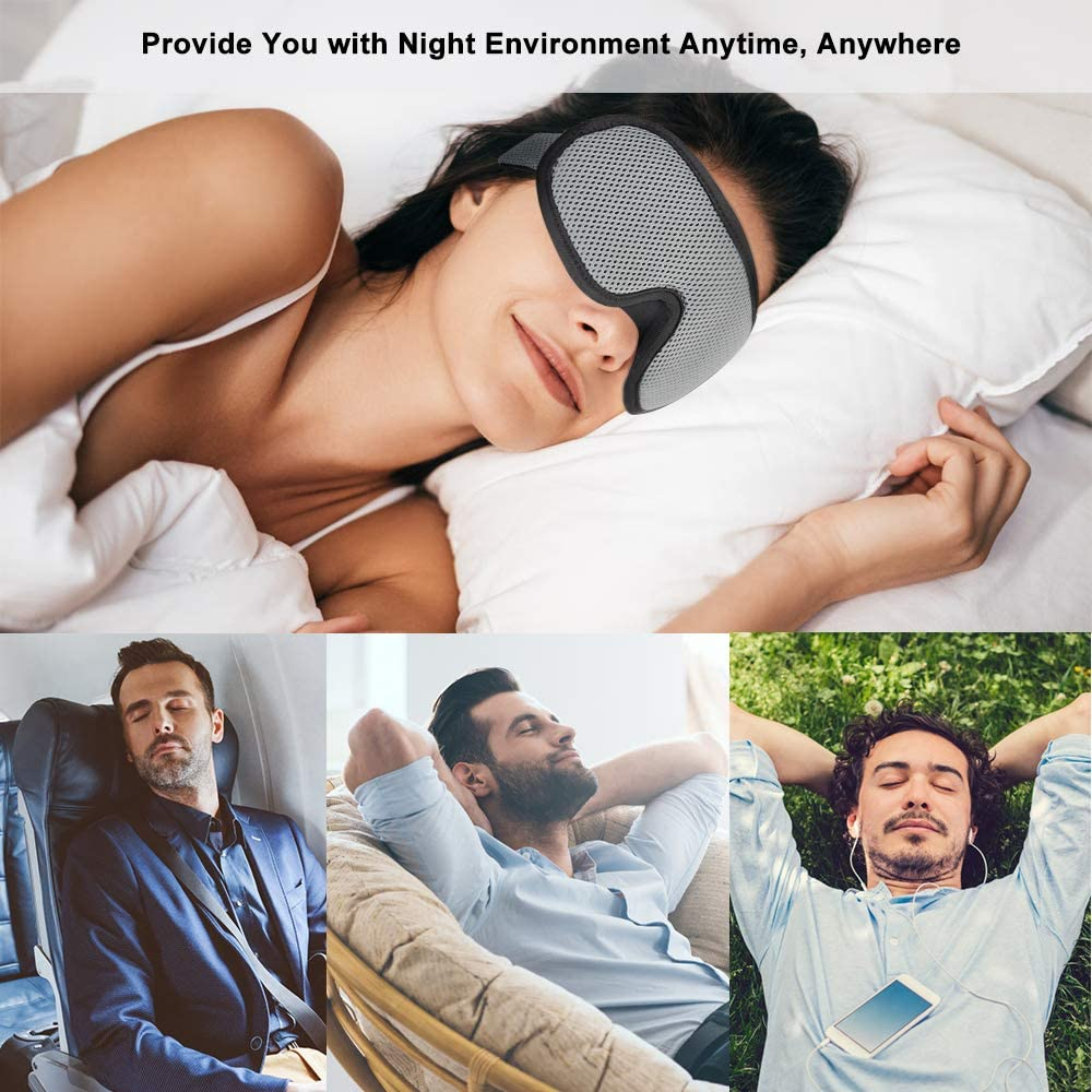 100/% de Lumi/ère Bloqu/ée supregear Masque de Sommeil Ajustable 3D Contoured Masque pour Les Yeux Endormi avec Bouchons Doreilles et Pochette de Voyage pour Sommeil//Voyage//Sieste Gris, 3 Pi/èces