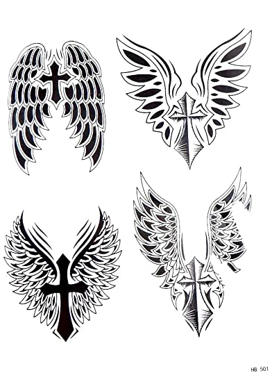 Amazoncom Angel Wing Cross Large 825 Half Sleeve Arm Tattoo