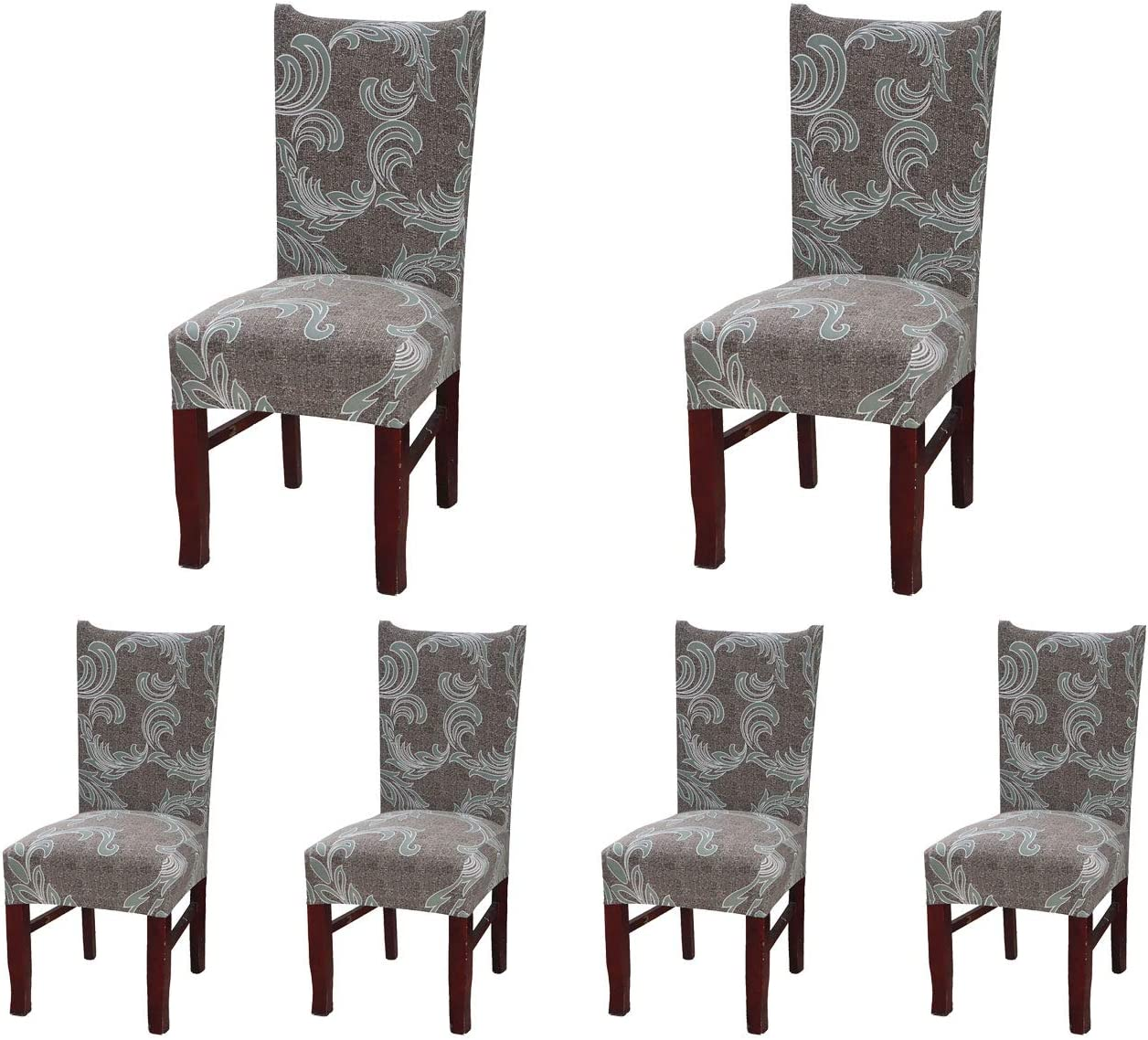SoulFeel 6 x Soft Spandex Fit Stretch Short Dining Room Chair Covers with Printed Pattern, Banquet Chair Seat Protector Slipcover for Home Party Hotel Wedding Ceremony (Style 25)