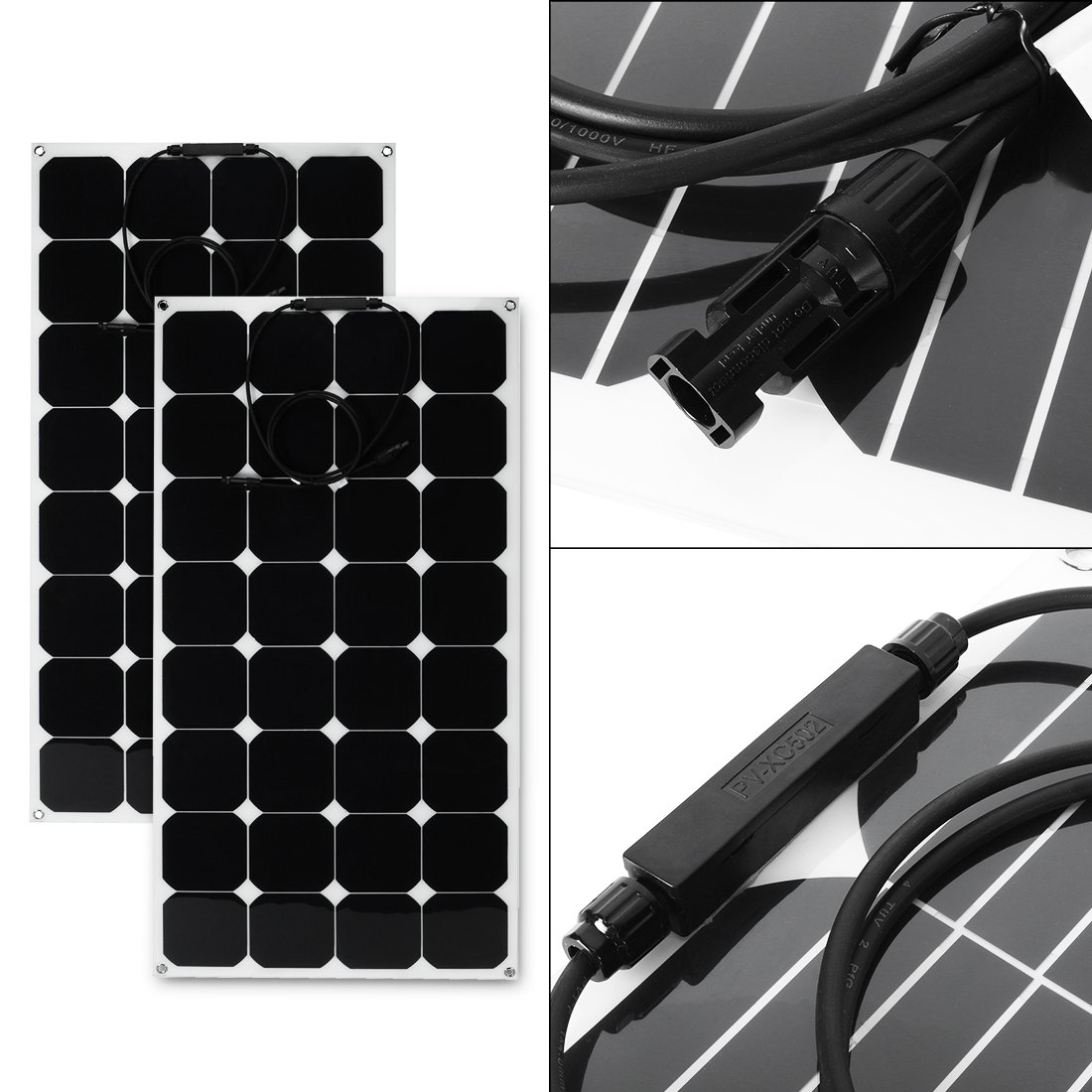 uxcell 2pcs 100W 18V 12V Solar Panel Charger Solar Cell Ultra Thin Flexible with MC4 Connector Charging for RV Boat Cabin Tent Car by BU LU SHI (Image #6)