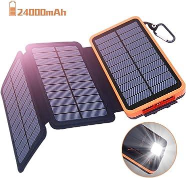 Batería Externa 24000mAh Cargador Solar, Power Bank solar - 2 Entradas (3 Paneles Solares y USB) 2 Puertos USB de Salida 2.1A, Lámpara y Gancho LED, ...