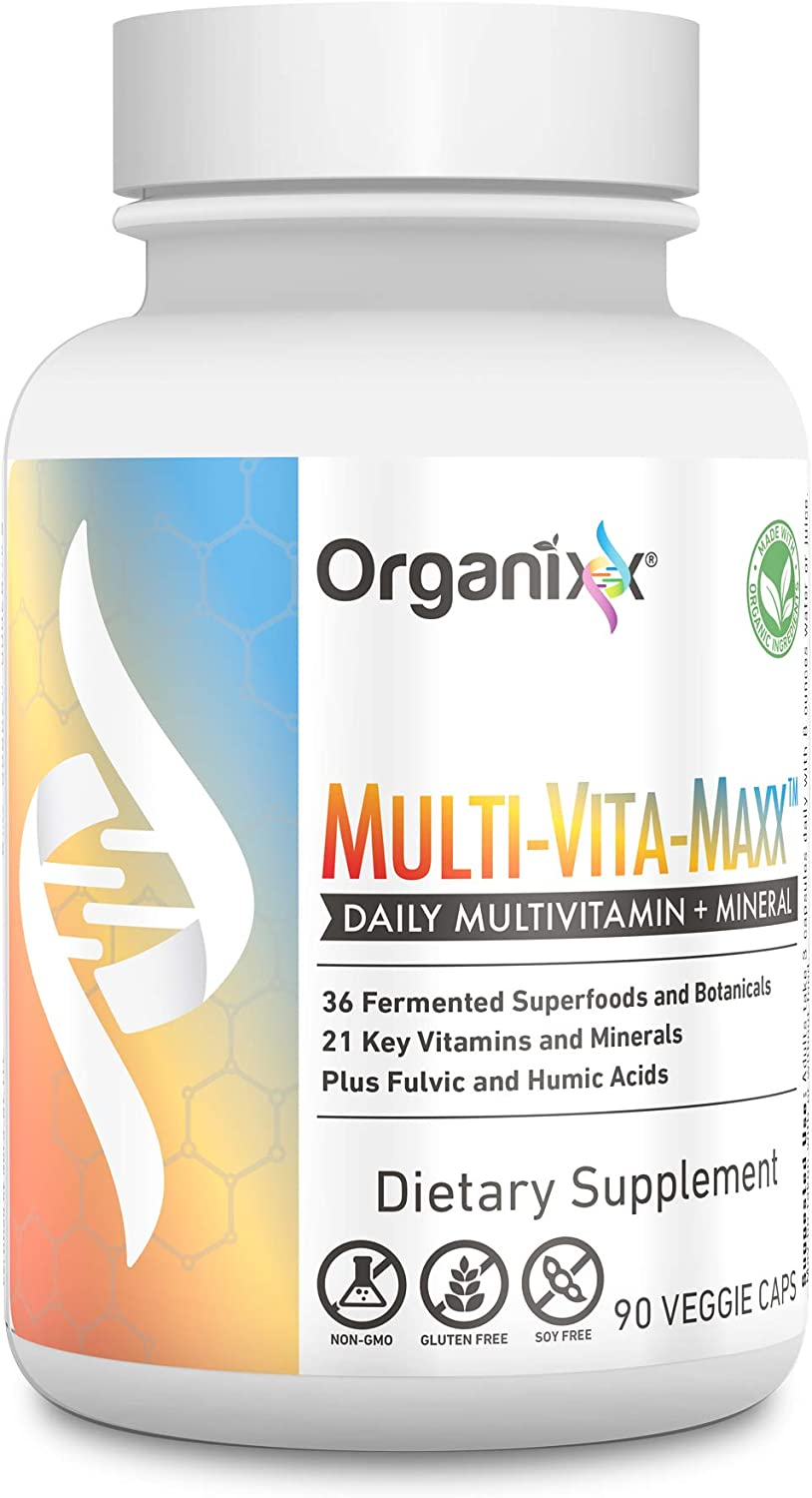 Organixx – Multi-Vita-Maxx – Whole Foods Multivitamin for Men and Women – B12, Calcium, Vitamin D, Vitamin C and More – Plus 36 Superfoods 90 Capsules