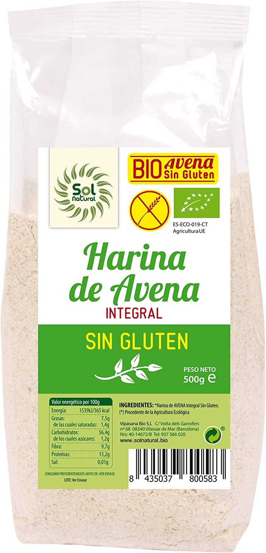Solnatural Harina De Avena Sin Gluten Bio 500 G 400 g: Amazon.es ...