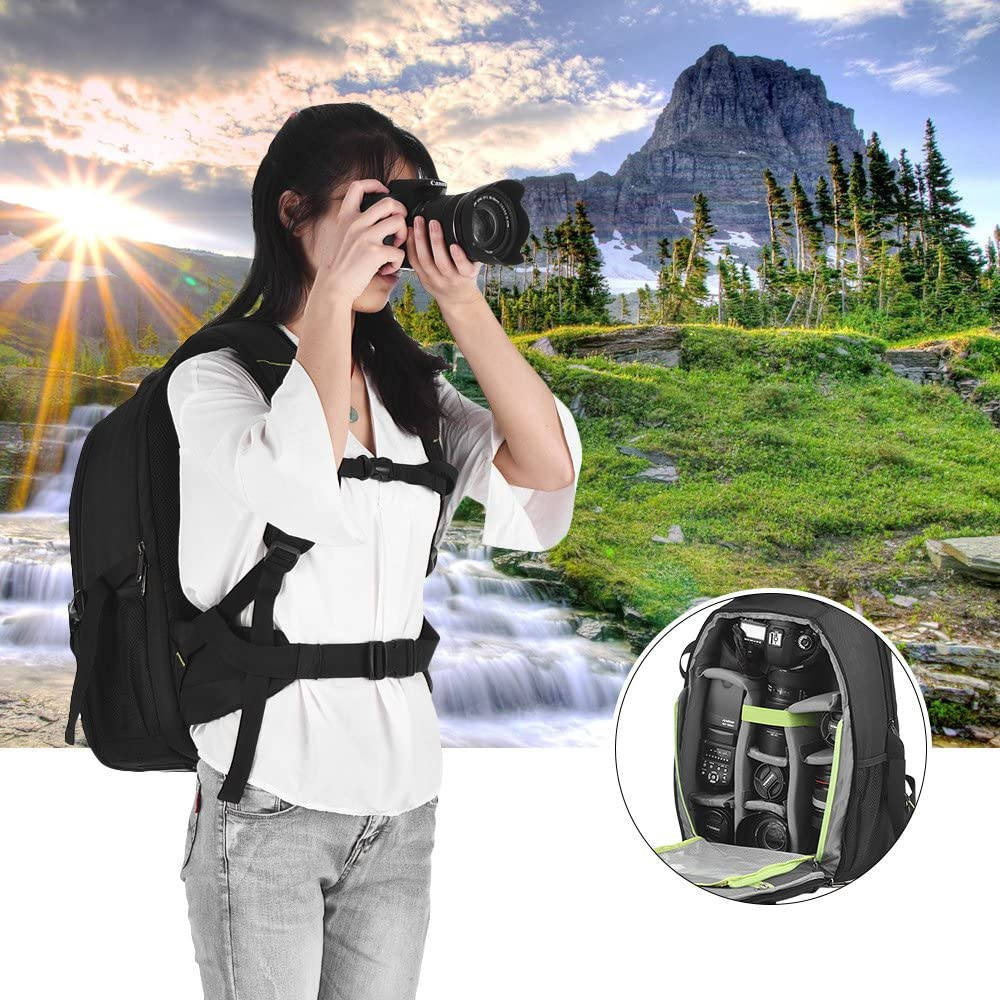 RuleaxA Professional Large Capacity DSLR Camera Backpack Waterproof Shockproof Outdoor Photography Travel Tablet Laptop Shoulder Bag with Rain Cover