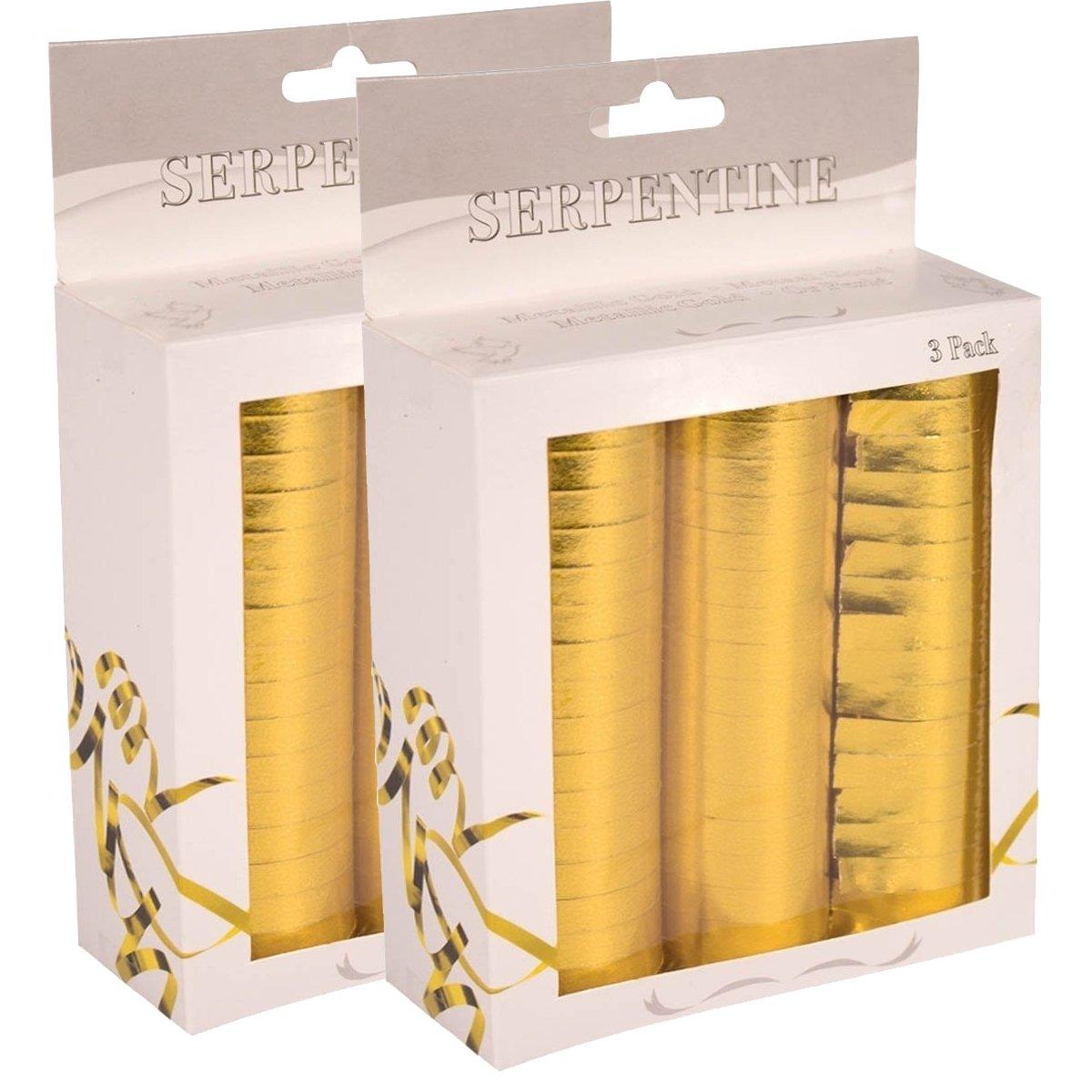 Neu Luftschlangen, 3er Pack, Metallic Gold Folat