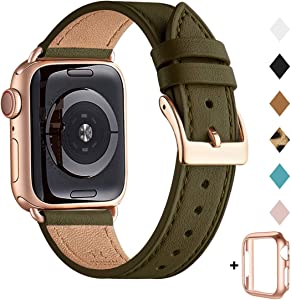 Bestig Band Compatible for Apple Watch 38mm 40mm 42mm 44mm, Genuine Leather Replacement Strap for iWatch Series 6 SE 5 4 3 2 1,Sports & Edition (Olive Green Band+Rose Gold Adapter, 38mm 40mm)