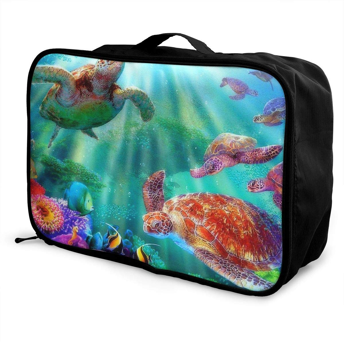 Travel Luggage Duffle Bag Lightweight Portable Handbag Watercolor Sea Turtle Paintings Large Capacity Waterproof Foldable Storage Tote