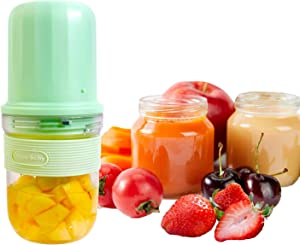 PURITY BABE Baby Food Supplement Machine Portable Personal Size Blender USB Rechargeable Small Fruit Juicer Mixer Maker Fit Travel Office Outdoor Two Cups Mini Cute Blender Green