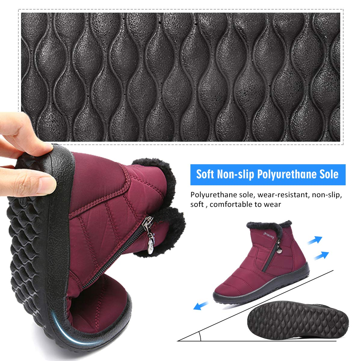 Chaussures Ville Hiver Bottines de Pluie Imperm/éable avec Fourrure /à Talons Plats Boots Int/érieur Fourr/ée Chaude Confortable Zipp/é Gracosy Bottes de Neige Femmes Filles Noir Rouge