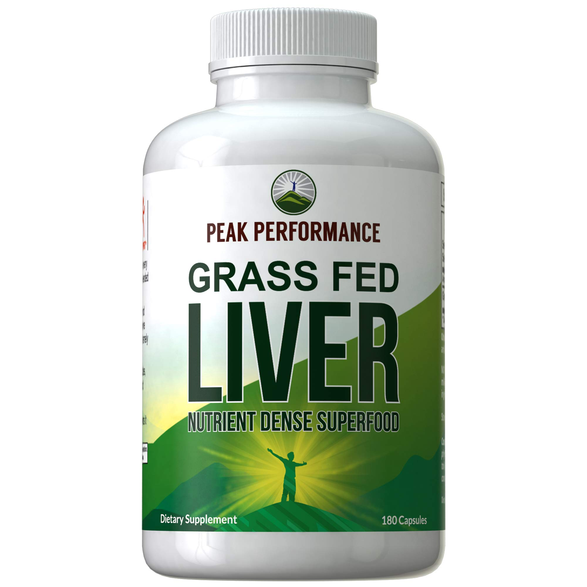 Grass Fed Desiccated Beef Liver Supplement by Peak Performance. 180 Capsules of Grassfed Liver Superfood Pills Rich in Natural Iron, Vitamins, Amino Acids. Great for Adrenal and Immune Support by Peak Performance