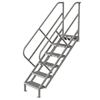 Tri Arc WISS106242 6 Step Industrial Access Stairway Ladder With Grip Strut  Tread