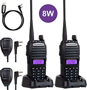 BaoFeng Radio BaoFeng UV-82 8W High Power Ham Radio Dual Band Amateur Walkie Talkies Portable 2 Way Radio 2Pack