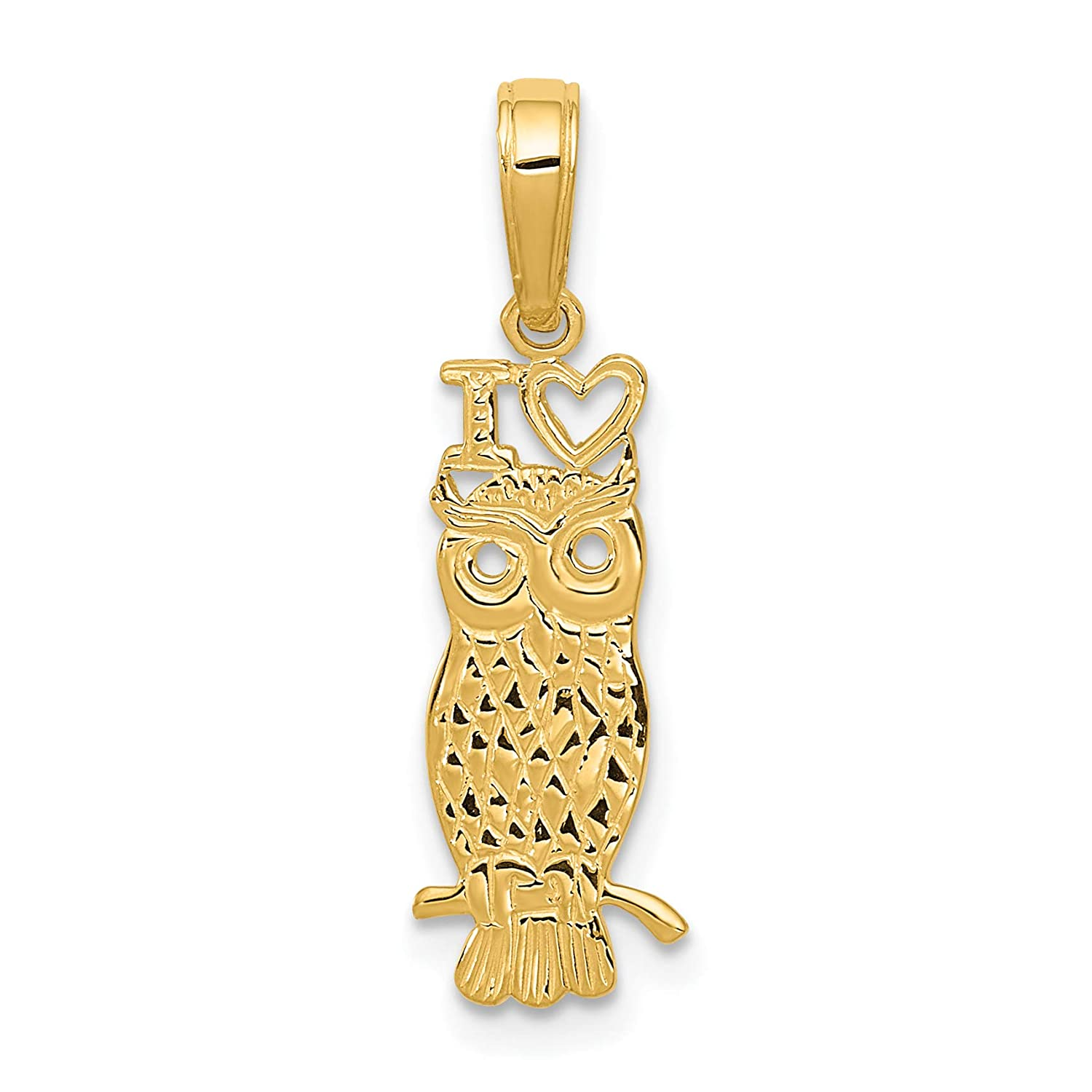 14k Yellow Gold I Love Owls Words and Bird on Tree Branch Pendant 23x8mm