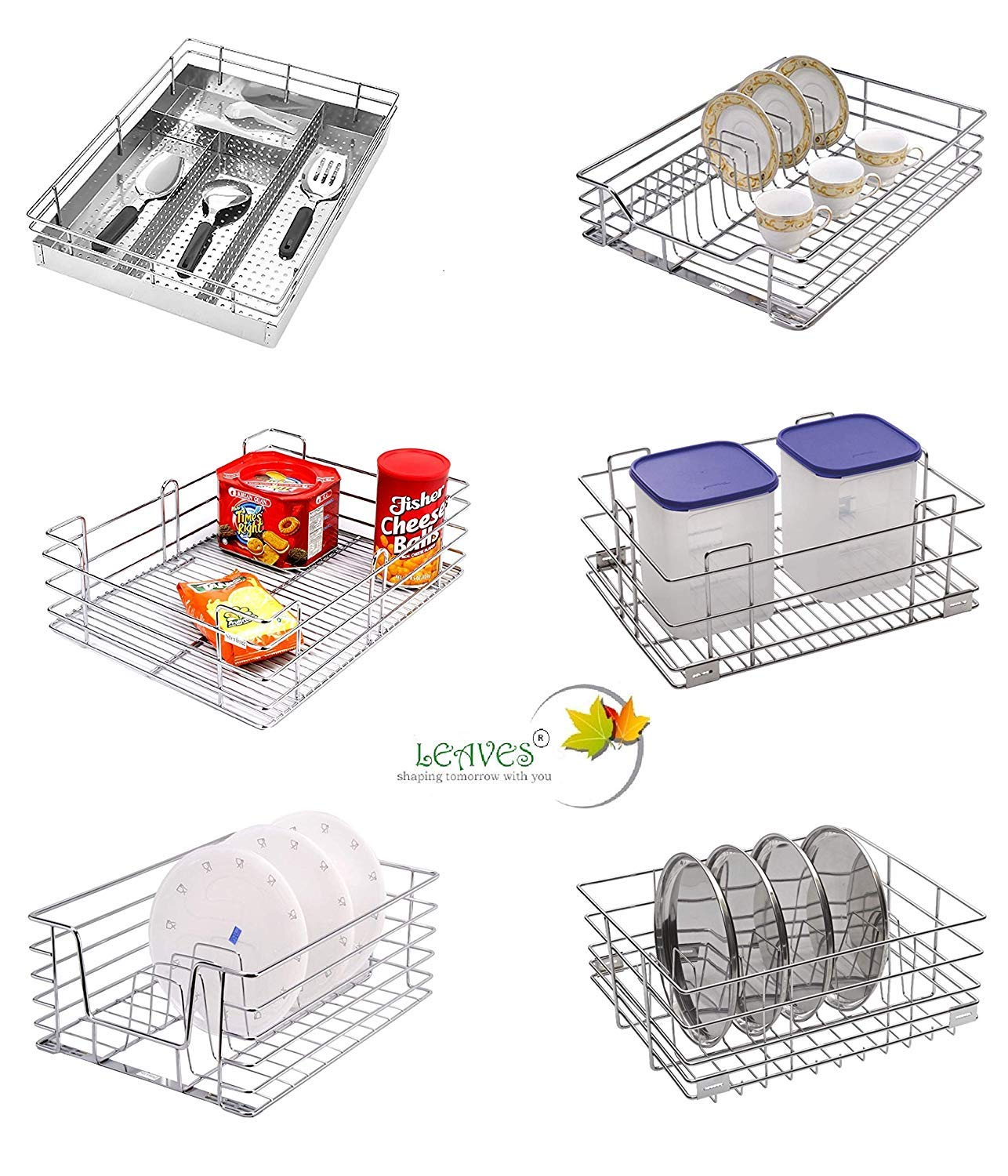 Buy Leaves Set Of 6 Modular Kitchen Stainless Steel Basket Pull Out Drawers Shelves Cabinet Rack Basket Tray For Multipurpose Utensils Container Shelf Organiser 15 X 20 Inches Online At Low Prices