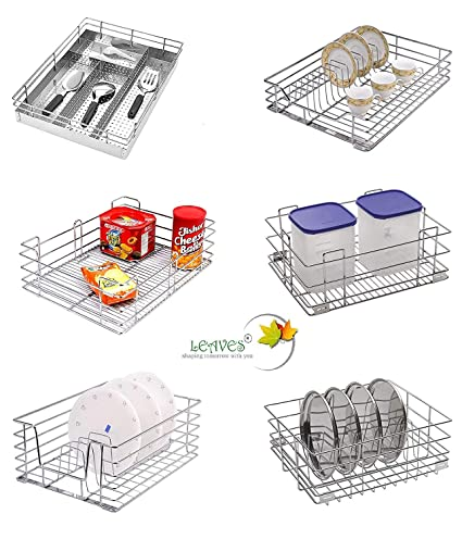 Leaves Stainless Steel Rack Basket Tray ,Set Of 6 Dimensions (21X20X4,  21X20X6 And 21X20X8 )