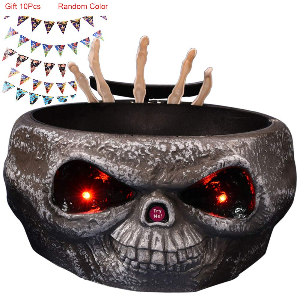 Tricky Toy Halloween Candy Bowl Fruit Dish for Frighten Your Friends and Children who Want Candy,Brown