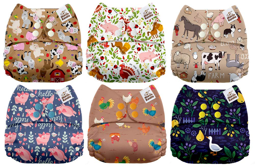 Mama Koala One Size Baby Washable Reusable Pocket Cloth Diapers, 6 Pack with 6 One Size Microfiber Inserts (Farm Life)