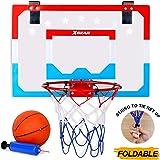 XGEAR Foldable Mini Basketball Hoop - Pro Style Steel Durable Rim - Over-The-Door Shatterproof Backboard(18'' x 12…
