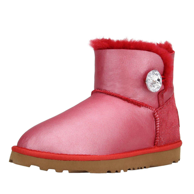 Shenduo 18262 Boots Classic, Bottes de Doublure Neige Femme Antidérapantes Doublure Chaude, Boots Mi-Mollet avec Bouton DV5803 Rouge 90376d0 - jessicalock.space