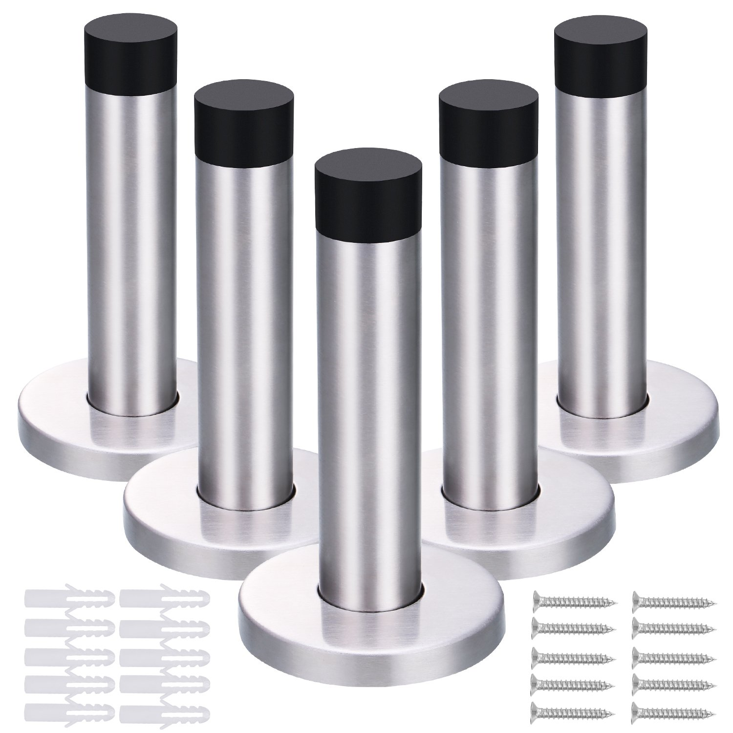5 Pack 90 mm Door Stop Stainless Steel Door Stopper Holder with Screws and Drywall Anchors Hotop