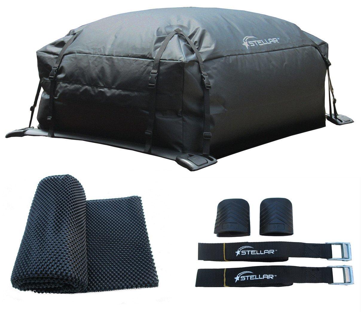 STELLAR 10203-309 Waterproof Roof Top Cargo bag- Mat- Lashing straps combo