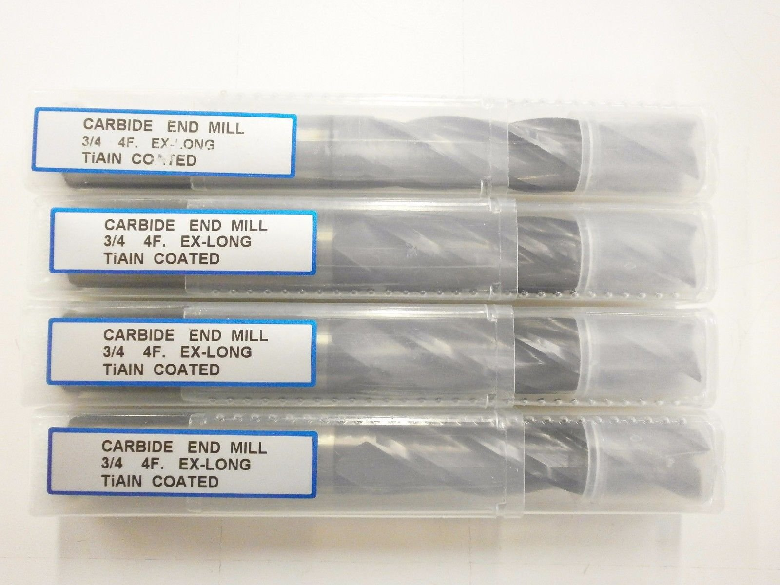 4pc) 3/4'' Extra Long YG1 Generic Solid Carbide End Mill TiAlN Coated .750 YG-1 4 Flute Endmill EH06504801
