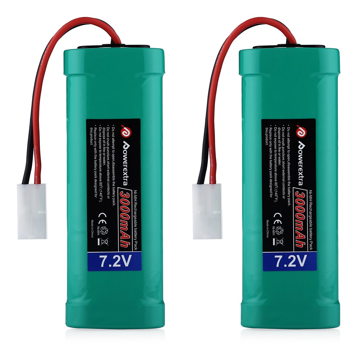 Powerextra 2 pcs 7.2V 3000mAh Flat NiMH High Power Battery Packs with Tamiya Connectors for KET Connectors for RC Cars, RC Truck, RC Airplane, RC Helicopter, RC Boat