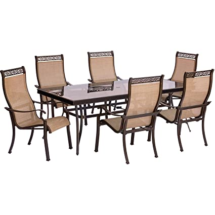 Hanover Monaco 7 Piece Dining Set With Six Sling Back Dining Chairs And One  Extra