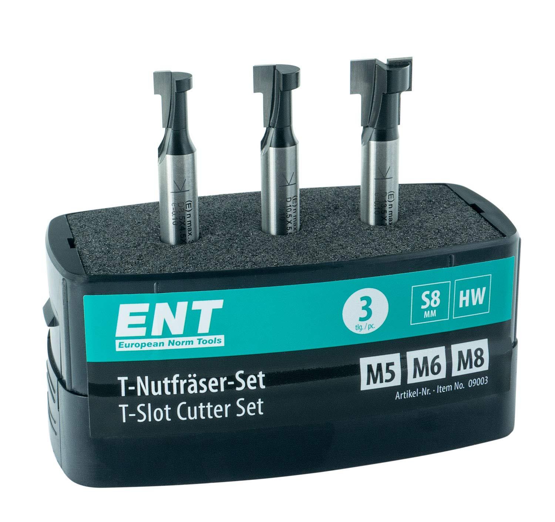 ENT 09003 Set di frese a 3 pezzi HW con scanalatura a T ottimizzato per viti M5 M6 e M8, HW (HM), codolo (S) 8 mm - Fresatura per viti ad esagono incastro comuni ENT European Norm Tools