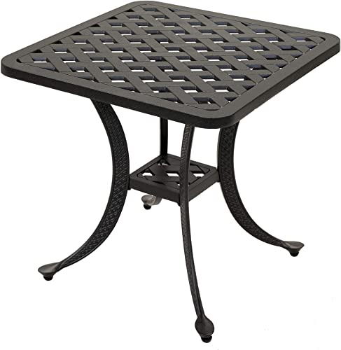iPatio Sparta Standard Square Cast Aluminum Side Table Outdoor End Table Espresso Brown