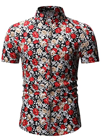 012b571567d2f CRYYU Men Hawaii Wind Button Down Casual Floral Printed Short Sleeve Button  Up Dress Shirt at Amazon Men s Clothing store