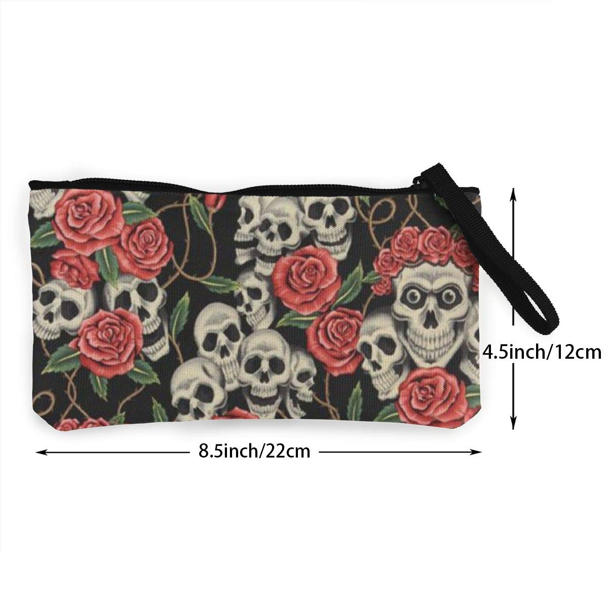 Coin Pouch Rose Skull Red Canvas Coin Purse Cellphone Card Bag With Handle And Zipper