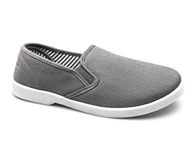 arrives detailed pictures free shipping Dr Keller YACHT Mens Canvas Wide Fit Slip On Deck Shoes Grey ...