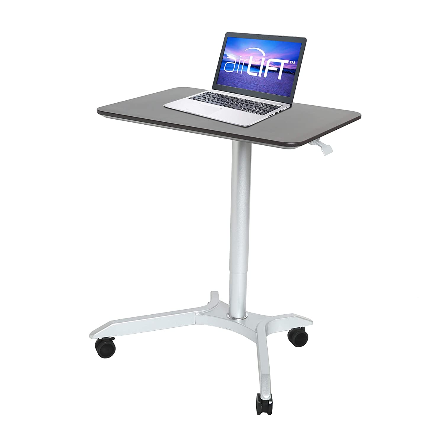 Seville Classics AIRLIFT XL Pneumatic Sit-Stand Mobile Desk Cart, Height-Adjustable from 27.1 to 41.9, Espresso