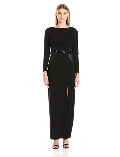 Marina Womens Long Sleeve Gown With Sheer Panels At Amazon Womens