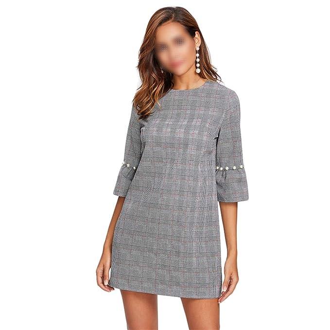 d8047bb47c4d Pearl Beading Flare Sleeve Plaid Dress Grey A Line 3 4 Sleeve Elegant  Winter Dresses