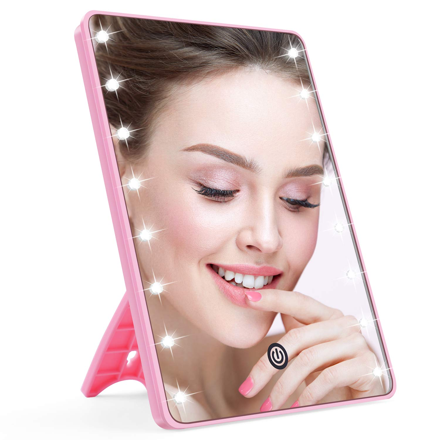 Makeup Mirror for Women and Men, Lighted Makeup Vanity Mirror with 16 LED Lights,Touch Screen,Light Adjustable Dimmable Light up Mirrors for Home Tabletop Bathroom Shower Travel