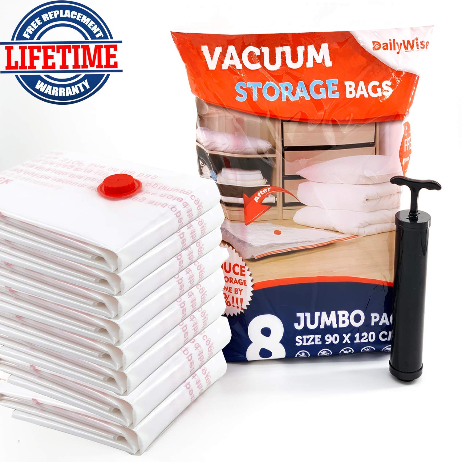 DailyWise Extra Large Vacuum Storage Bags for Comforters, Space Bags for Pillows, Duvets, Blankets, Jumbo 8 Pack (35 x 47 inches)